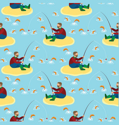 Fisherman and fish seamless pattern vector