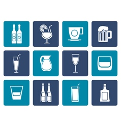 Flat different kind of drink icons vector