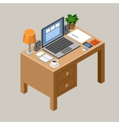 Flat isometric workspace Desk Office vector image