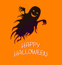 flying funny ghost happy crazy halloween vector image