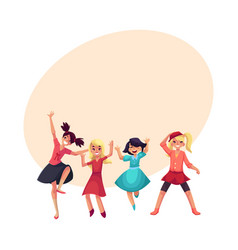 four girls in colorful clothes having fun dancing vector image