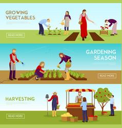 Gardening season horizontal banners set vector