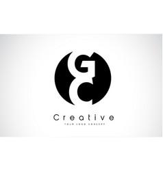 Gc letter logo design inside a black circle vector