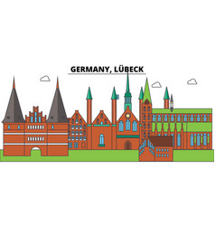 Germany lubeck city skyline architecture vector