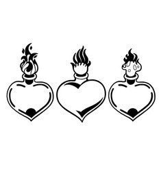 Graphic flaming heart vector
