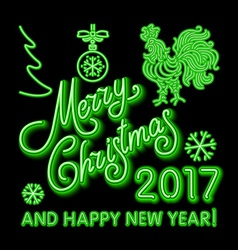 Green Christmas neon sign green merry Christmas vector