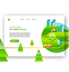Green city eco friendly web landing page design vector