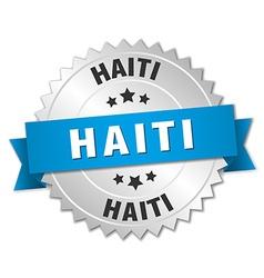 Haiti round silver badge with blue ribbon vector