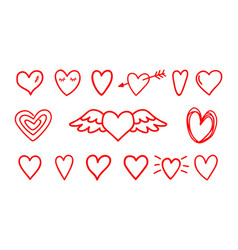 hand drawn hearts icons vector image