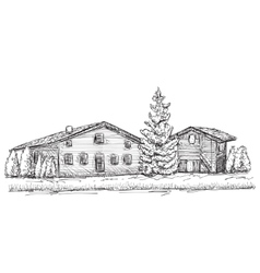 Hand drawn houses sketch Doodles tree vector image