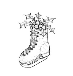 Hand drawn sketch of lovely christmas skate with vector