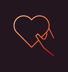 hand holding heart red icon in outline vector image