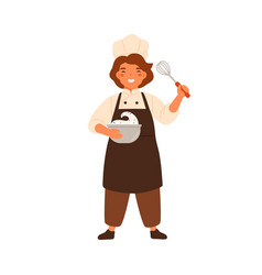 happy girl confectioner holding bowl with whipped vector image