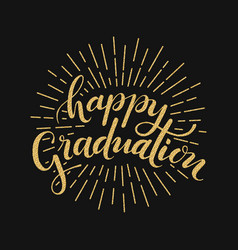 Happy graduation hand drawn lettering vector