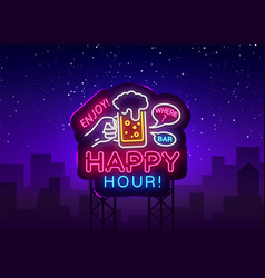 Happy hour neon sign happy hour design vector