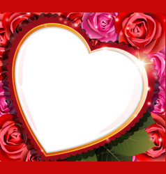 heart and roses valentines day background vector image