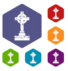 Irish celtic cross icons set hexagon vector