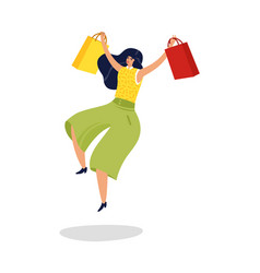 Jumping woman happy excited woman with shopping vector