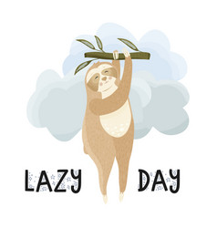 lazy day children funny postcard vector image