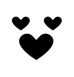 love hearts icon black sign vector image