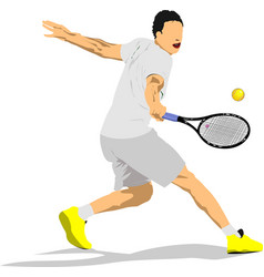 Man tennis player colored 3d vector