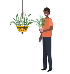 Man with houseplant in macrame hangers vector