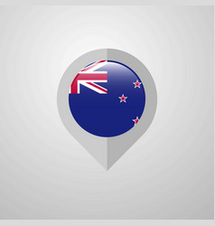 Map navigation pointer with new zealand flag vector