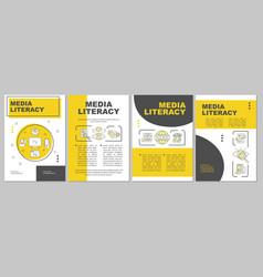 Media literacy yellow brochure template vector
