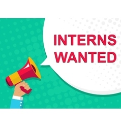 Megaphone with INTERNS WANTED announcement Flat vector