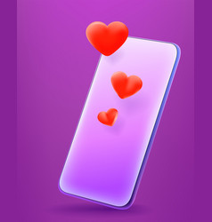 modern smartphone with cute red hearts 3d comic vector image