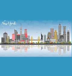 New york usa city skyline with gray buildings vector