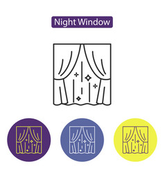 night window line icon vector image