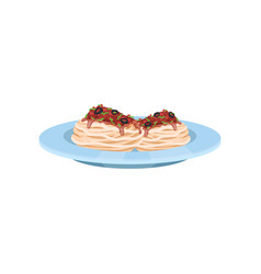 Pasta dish cooked with tomato sauce and olives vector