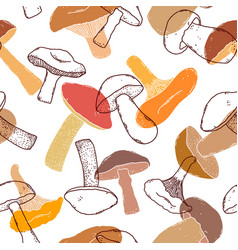 Pattern with hand drawn mushrooms vector