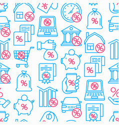 percentages seamless pattern with thin line icon vector image