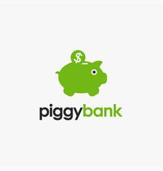 piggy bank and coin logo bank logo icon vector image