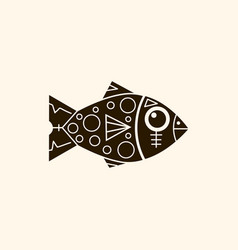 prehistoric fish with patterns retro background vector image