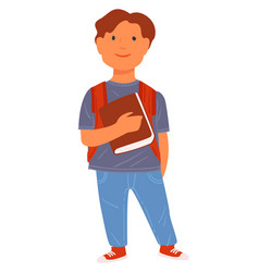 pupil holding book schoolboy with satchel at vector image