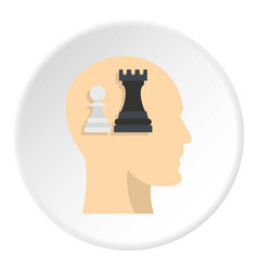 queen and pawn chess inside human head icon circle vector image