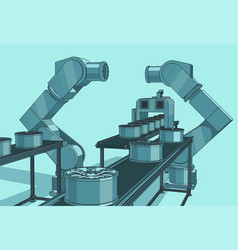 Robotic industrial line vector