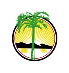Royal palm beach sea mountain retro vector