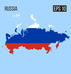 russia map border with flag eps10 vector image