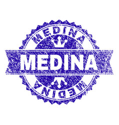 Scratched textured medina stamp seal with ribbon vector