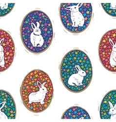 Seamless pattern with floral easter eggs and bunny vector