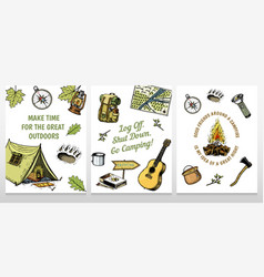 set camping cards poster or print template vector image