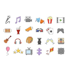 Set entertainment colorful icons vector