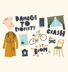 Set icons damage to property theme crashed vector