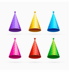 Set of colorful celebration or happy birthday caps vector