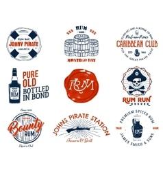 Set of vintage handcrafted emblems labels logos vector image