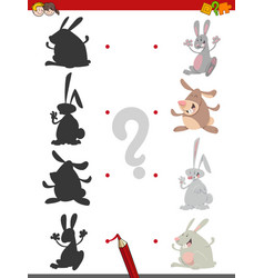 Shadow game with rabbits vector